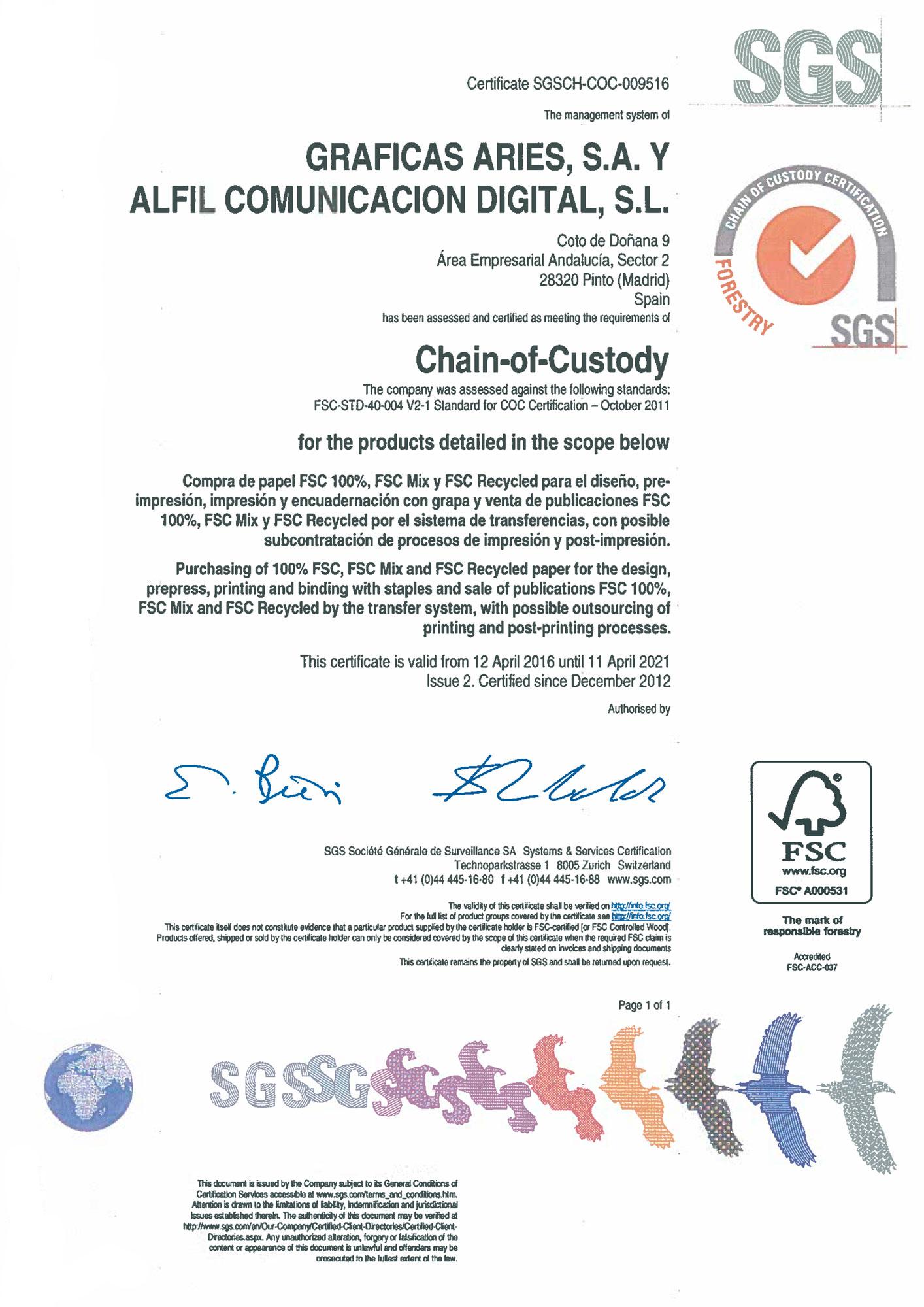 Certificado FSC Aries