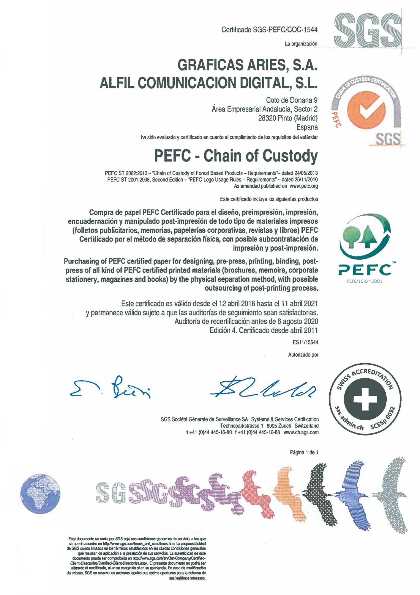 Certificado PEFC Aries