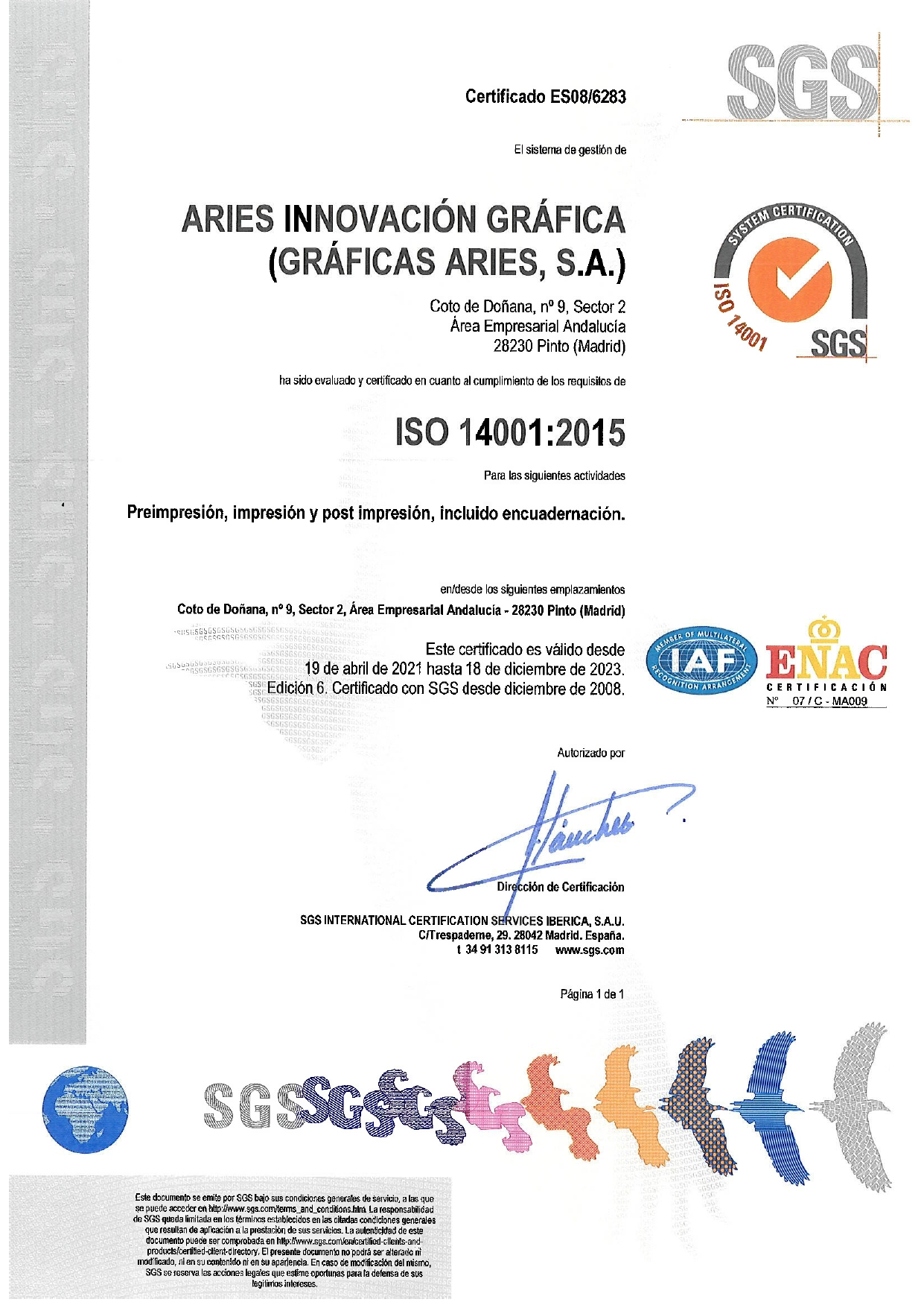 ARIES Certificado ISO 14001 validez hasta diciembre 2023