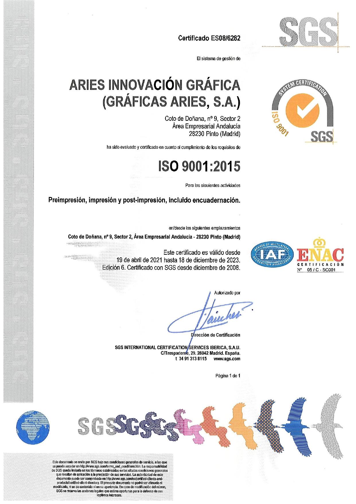 ARIES Certificado ISO 9001 validez hasta diciembre 2023
