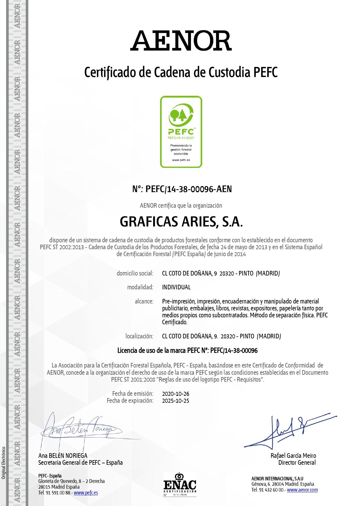 CERTIFICADO PEFC ARIES-AENOR valido hasta 25-10-2025