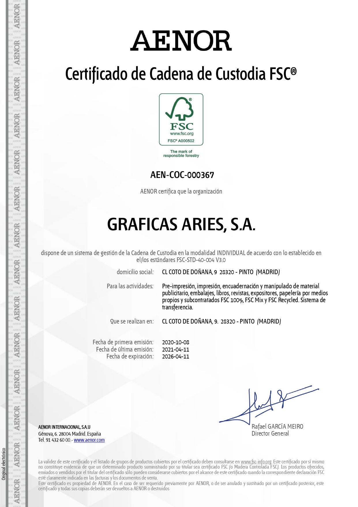 Certificado FSC AENOR hasta 11 abril 2026